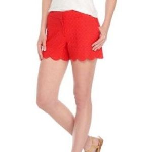 Crown & Ivy Red Shelby Scalloped Hem Shorts NWT